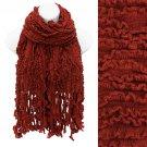 Multi Ruffled Rib Knit Fringes Scarf Soft Warm Cozy Beautiful Rusty Red SF00254RD