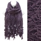 Multi Ruffled Rib Knit Fringes Scarf Soft Warm Cozy Beautiful Purple  SF00254PU
