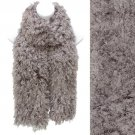 Soft Luxurious Synthetic Faux Curly Fur Long Puffy Scarf Gray Taupe SF00256TP