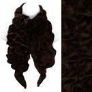 Silk Feel Velvet Stretch Ruffle Fashion Scarf Soft Glamorous Beautiful Brown  SF00259BR