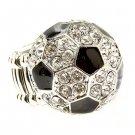 Sport Soccer Crystal Rhinestone Stretch Ring Clear RG00107-SC