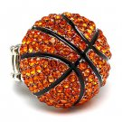 Sport Basketball Crystal Rhinestone Stretch Ring Orange  RG00107-BK