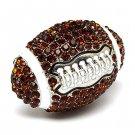 Sport Football Crystal Rhinestone Stretch Ring Brown  RG00107-FT