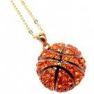 "Sport Basketball Crystal Rhinestone 20mm 18"" Long Fashion Necklace Gold Orange  NE00018BKGDOR"