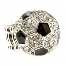 Sport Soccer Ball Crystal Rhinestone 20mm Stretch Adjustable Ring Silver Clear  RG00157SCRDCL