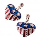Patriotic American Flag Crystal Rhinestone Heart Charm Dangle Earrings Silver  ER00338AM14RDCL
