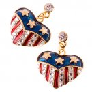 Patriotic American Flag Crystal Rhinestone Heart Charm Dangle Earrings Gold  ER00338AM14GDCL