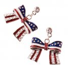 Patriotic American Flag Crystal Rhinestone Ribbon Charm Dangle Earrings Silver  ER00338AM16RDCL