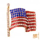 Patriotic Jewelry American Flag Crystal Rhinestone 3D Brooch Pin Gold   BHAM003GDMT