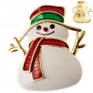 Christmas Jewelry Adorable White Snowman Red Scarf Holiday Spirit Charm Brooch  BH00027GDSN01