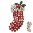 Christmas Jewelry Red Socks Silver Tone Crystal Rhinestone Charm Pin Brooch BH00027RDSH03