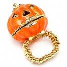 Halloween Jewelry Locket Pumpkin Stretch Ring Orange  RG00112-OR