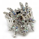 Halloween Jewelry Crystal Spider Stretch Ring Silver  RG00110-SV