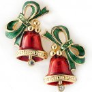 Christmas Jewelry Twin Green Bells Red Ribbon Gold Tone Holiday Charm Earrings  ER00378GDBT01