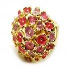 Pink Gold Epoxy Garden Flower Adjustable Stretch Ring RG00005