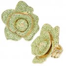 Crystal Pave Big Rose Stretch Fashion Ring Green RG00056-GN