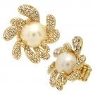 Pearl Accented Swirly Crystal Pave Flower Stretch Ring RG00060