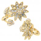 Flower Design Two Finger Stretch Ring Clear Gold RG00064-GD