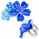 Multi Flower Two Finger Stretch Ring Blue RG00063-BL