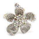 Beautiful Fashion Chunky Big Floral Stretch Ring Silver RG00070-SV
