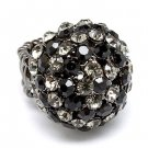 Duo Tone Dome Round Crystal Pave Stretch Ring Black RG00071-BK