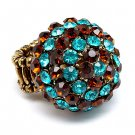 Duo Tone Dome Round Crystal Pave Stretch Ring Teal Blue RG00071-TL