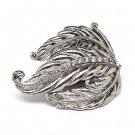 Leaf Design Nature Crystal Fashion Stretch Ring Silver  RG00085-SV