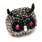 Owl Animal Crystal Rhinestone Stretch Ring Black  RG00108-BK