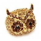 Owl Animal Crystal Rhinestone Stretch Ring Gold Topaz RG00108-GD