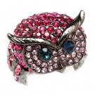 Owl Animal 3D Crystal Rhinestone Stretch Ring Pink RG00109-PK