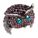 Owl Animal 3D Crystal Rhinestone Stretch Ring Purple RG00109-PU