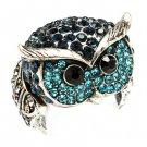 Owl Animal 3D Crystal Rhinestone Stretch Ring Blue RG00109-BL