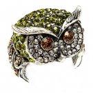 Owl Animal 3D Crystal Rhinestone Stretch Ring Green RG00109-GN