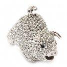 Pig Crystal Rhinestone Animal Stretch Adjustable Fashion Ring Clear Silver RG00123RDCL