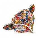 Fox Head Crystal Animal Stretch Adjustable Fashion Ring Antique Silver Multi  RG00129ASMT