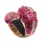 Flamingo Crystal Pave Animal Stretch Adjustable Fashion Ring Gold Fuchsia Pink  RG00137GDFU