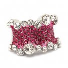Bling Crystal Rhinestone Stretch Adjustable Fashion Ring Silver Tone Pink  RG00139RDFU