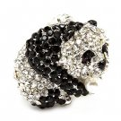 Panda with Pearl Black Clear Silver Tone Animal Stretch Adjustable Ring  RG00143RDBK