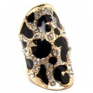Animal Print Crystal Black Enamel Silver Tone Leopard Stretch Adjustable Ring RG00131RDCL