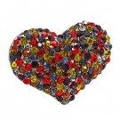 Crystal Pave Beautiful Heart Stretch Adjustable Ring Valentine Hematite Multi RG00145HMMT