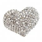 Crystal Pave Beautiful Heart Stretch Adjustable Ring Valentine Silver Clear RG00145RDCL