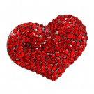 Crystal Pave Beautiful Heart Stretch Adjustable Ring Valentine Hematite Red  RG00145HMRD