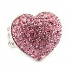 Bubbly Crystal Rhinestone Heart Stretch Adjustable Ring Valentine Silver Pink  RG00146RDPK