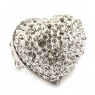 Bubbly Crystal Rhinestone Heart Stretch Adjustable Ring Valentine Silver Clear RG00146RDCL