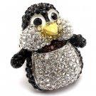 Penguin Crystal Rhinestone Stretch Adjustable Ring Animal Sparkle Silver Black  RG00147RDBK