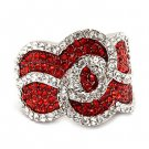 Stunning Chic Crystal Rhinestone Stretch Adjustable Cocktail Ring Silver Red  RG00149RDRD