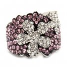 Beautiful Flower Crystal Rhinestone Stretch Adjustable Cocktail Ring Silver Pink  RG00150RDPK