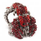 Scorpion Double Band Crystal Rhinestone Stretch Adjustable Cocktail Ring Red  RG00153HMRD
