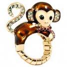 Cute Monkey Crystal Enamel Stretch Adjustable Fashion Cocktail Ring Gold Brown RG00144GDBR