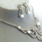 Bridal Wedding Jewelry Set Rhinestone Pearl Flower DP  JS00188